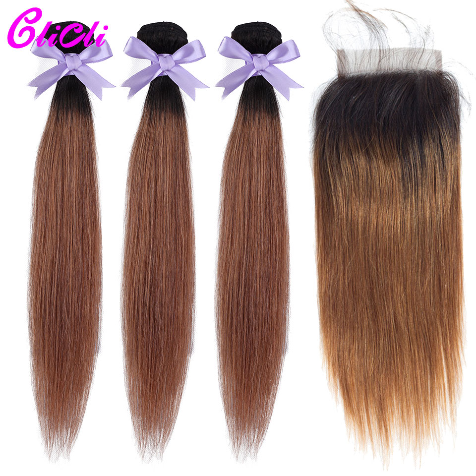 1B 30 Ombre Hair Bundles With Closure Straight Malaysian Human Hair Weave Bundles With Closure 4x4 Lace Dark Root Nonremy Clicli