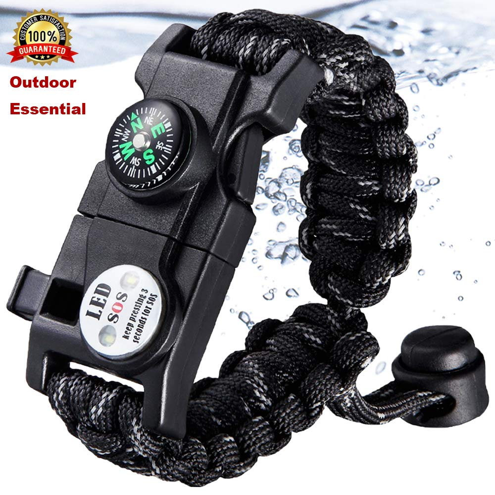 Military Emergency Braided Survival Bracelet With SOS LED Paracord Outdoor Camping Rescue Rope Bangles Compass Whistle Knife