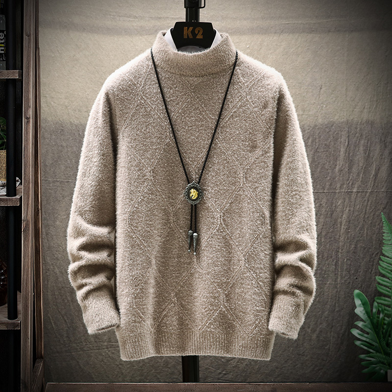 Winter Plaid Sweater Men Warm Fashion Sweter Clothes Solid Color Casual Knit Sweaters Man Loose Long Sleeve Pullover Men M-3XL