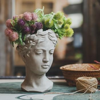 Creative Portrait Ceramic Flower Pot Venus Goddess Statue Flower Arrangement Vintage Art Vase Home Decoration Morden Jar