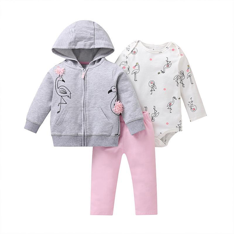 Newborn baby clothing Autumn 3pcs baby Boys Girls Clothes Jacket+pants+bodysuit Cute animals Infant Set Unicorn girls outfit