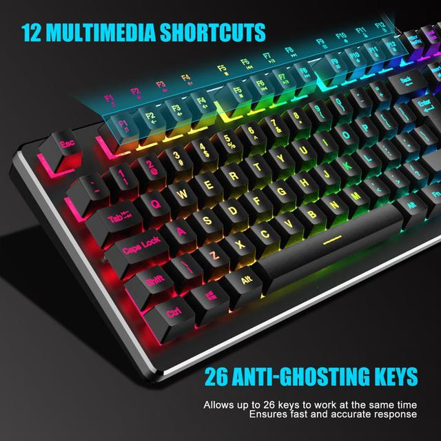 RedThunder K800 RGB Gaming Keyboard and Mouse, Sim-Mechanical Metal Cover, 6400DPI 7 Programmable Button for PC RU ES FR 4