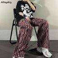 Übergroßen Hosen Frauen Harajuku High Street Chic Zebra-print Alle-spiel Sommer Herbst Jugendliche Hosen College Hohe Taille femme Neueste