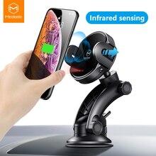 Mcdodo 10w qi sem fio carregador de ventilação ar montagem suporte do telefone suporte infravermelho automático carregamento rápido para iphone 12 pro samsung s20