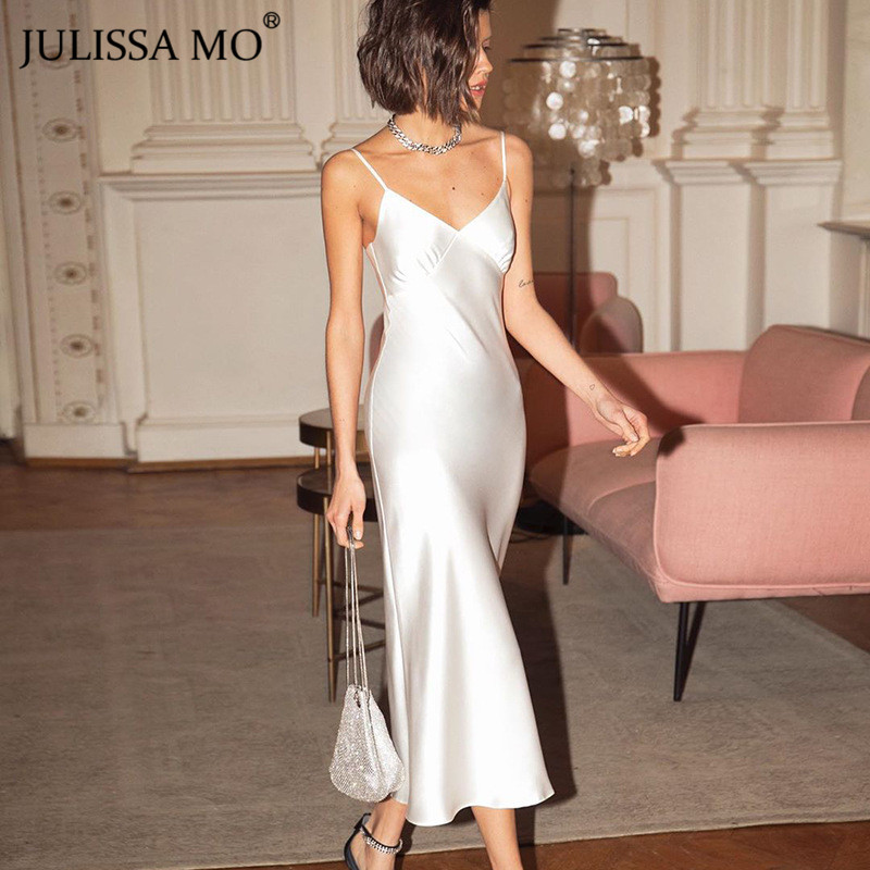 JULISSA MO Satin Silk Spaghetti Strap Summer Women Dress Sexy V Neck Backless Long Dresses Female White Elegant Party Vestidos