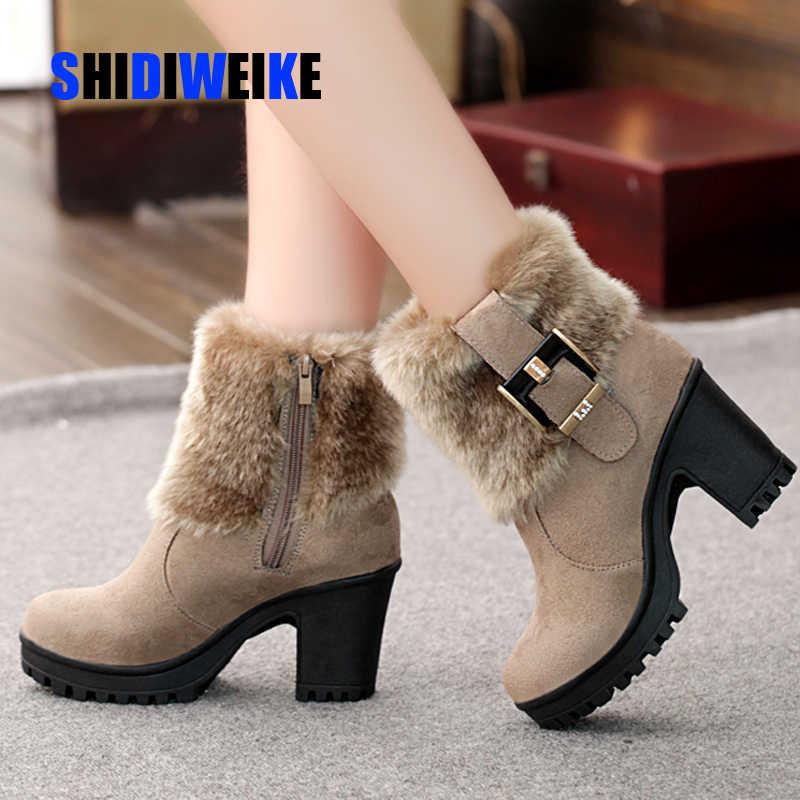 Vierkante hak vrouwen winter schoenen klassieke gesp warm bont sneeuw dames laarzen hoge hakken zwart platform enkellaars vrouwen botas g907