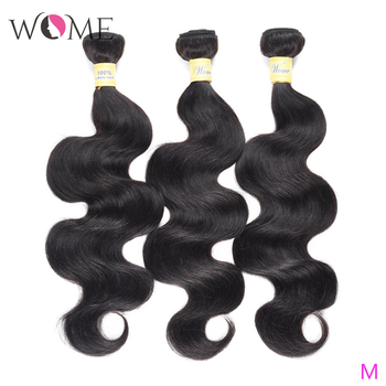 WOME Peruvian Body Wave Human Hair 1/3/4 Bundles Non-remy Hair Natural Color 10-26 Inches Hair Weave Extensions image