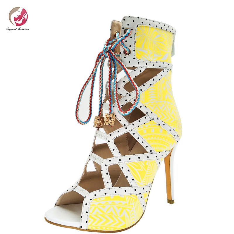 Original Intention Stylish Sexy Rome Style Sandles Woman Cross-tied Peep Toe Black Yellow Stiletto High Heels Charm Party Shoes