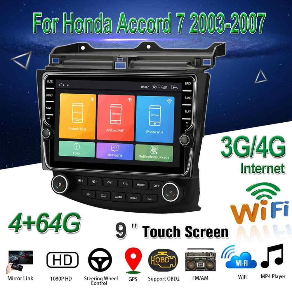"Para honda accord 7 2003-2007 carro multimídia player 9 ""android 8.1 estéreo de rádio do carro com gps bt wifi 3g/4g obd2 dab + áudio vídeo"