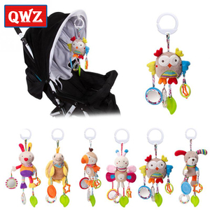 QWZ New Rattle Toys For Baby Cute Puppy Bee Stroller Toy Rattles Mobile For Baby Trolley 0-12 Months Infant Bed Hanging Gift