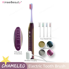 Wireless Charging Tooth Brush 5 Mode IPX7 Waterproof  Sonic Electric Toothbrush Oral Clean Ultrasonic Smart Brush 4 Brush Heads