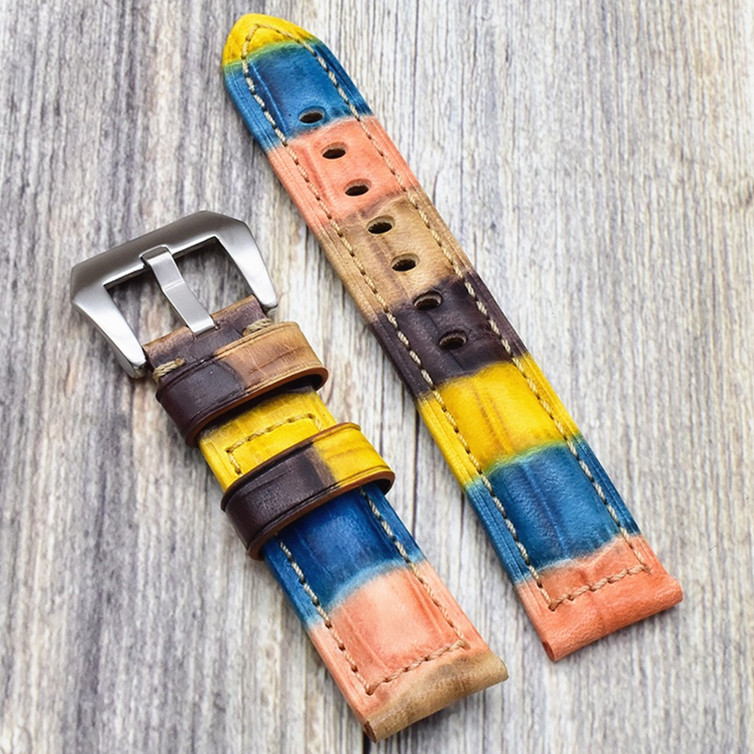 Wholesale 10PCS/lot genuine cow leather very strong Watch band watch strap beautiful color 22mm 24mm size available
