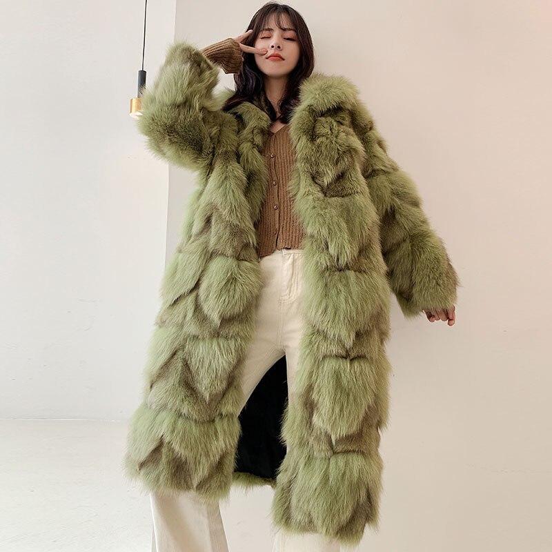 100% Natural Fox Fur Winter Woman Coats Long 2019 Fashion Genuine Fur Coats Women Real Fox Fur Coat Warm