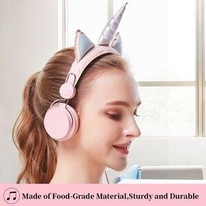 Image 2 - Leuke Kids Hoofdtelefoon Met Microfoon Eenhoorn Bedrade Cascos Mobiele Telefoon Gamer Headset Meisje Muziek Helm Met Armband Geschenken