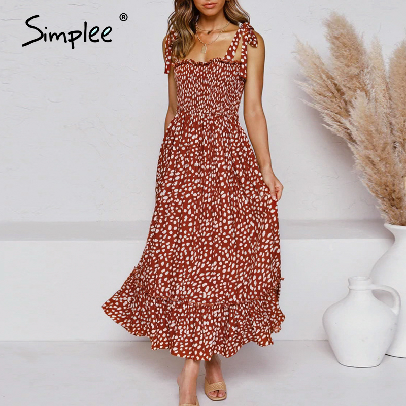 Simplee Bohemian Print Women Summer Long Dress Sexy Lace Up Dot Print Female Sundress Holiday Beach A Line Ladies Maxi Dresses