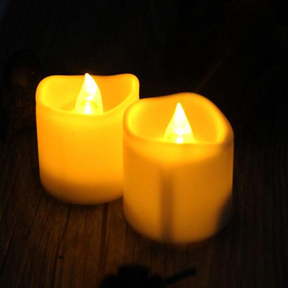 Светильник-свеча светодиодные мерцающие рождественские украшения для дома и свадьбы с батареей Романтический электронный бездымный подарок на день рождения - Цвет: White