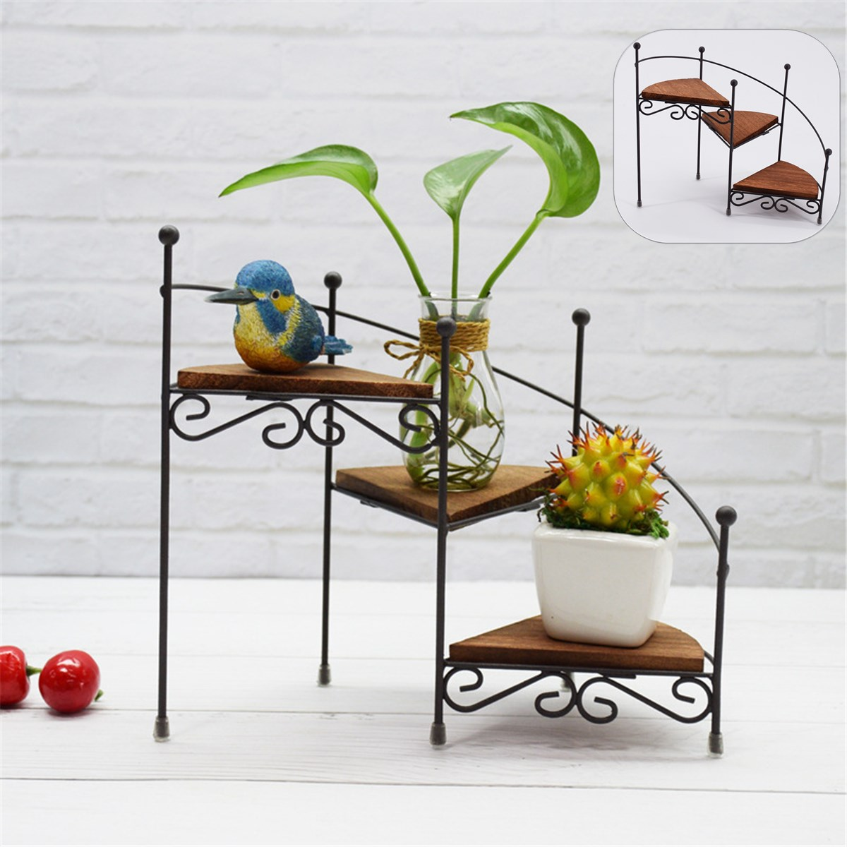 Retro Decorative Iron Plant Rack Stand Plants Succulent Shelf 3 Layers Staircase Desktop Garden Flower Stand With Wood Plate