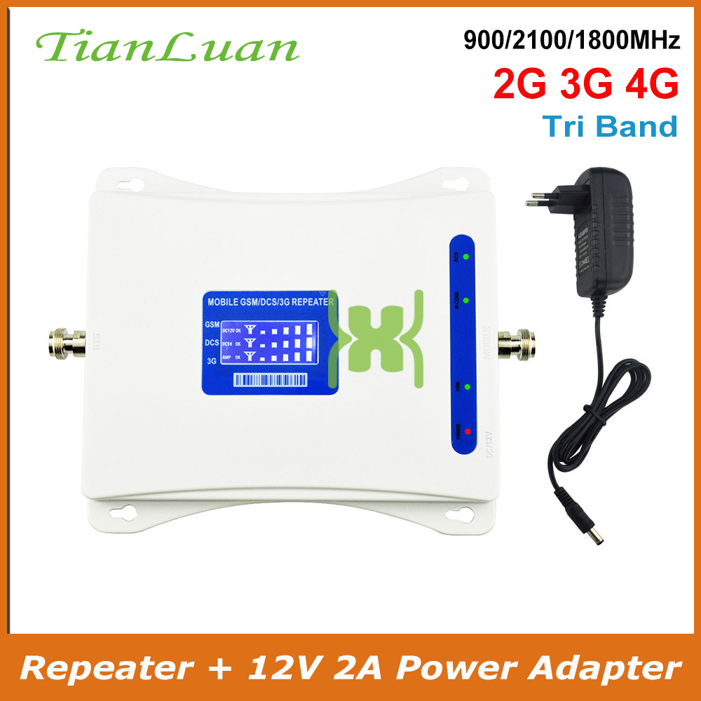 Band 8, 1, 3 Signal Amplifier GSM 900MHz LTE 1800MHz UMTS 2100MHz 2G 3G 4G Tri Band Mobile Cell Phone Signal Booster Repeater