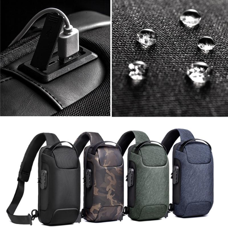 Multifunctional shoulder bag, for men, USB Anti-theft crossbody bag 4