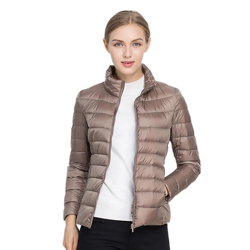 Women's   Jacket   Autumn Winter Casual Ultra Light Duck Down   Jacket   Coat Warm Slim Large Parka Black Pink Plus Size   Basic     Jackets