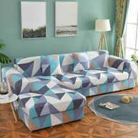 Veuillez commander un ensemble de canapé (2 pièces) si est Chaise Longue canapé d'angle élastique housse de canapé extensible housses de canapé pour salon géométrique