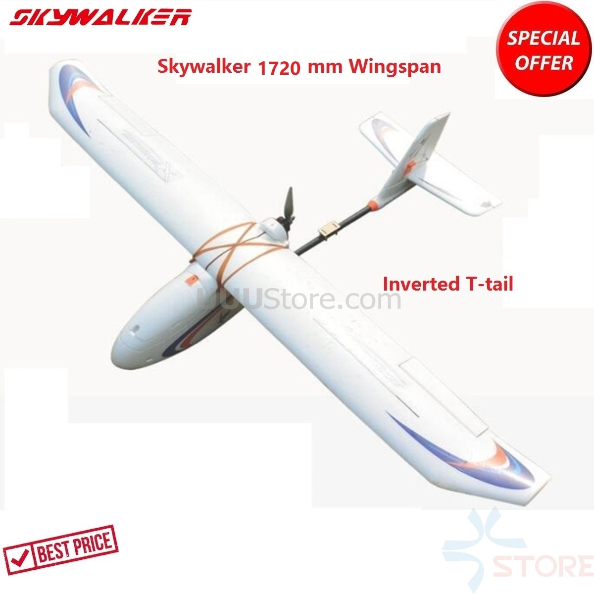 Skywalker 1720 mm Wingspan carbon fiber Inverted T-tail version Glider white FPV UAV Fixed Wing airplane RC Plane image