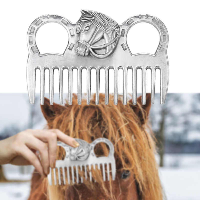 Lixada peine para caballo de aleación de aluminio, equipo de limpieza de caballo, herramienta de limpieza de cola de melena, peines, aseo, accesorios para el cuidado de los caballos