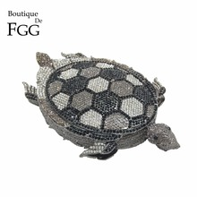 Boutique De FGG Novelty Diamond Turtle Minaudiere Evening Bags for Women Formal Wedding Party Crystal Clutch Purses and Handbags