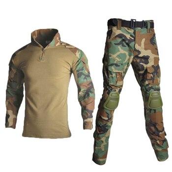 Camouflage G3 Military Uniform Shirt & Pants Comfortable Airsoft Painball Combat Tactical Shirt Pants Set with Elbow Knee Pads