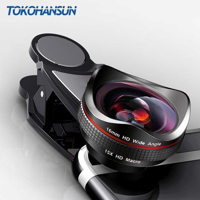 TOKOHANSUN Professionale 15x Macro Foto HD 0.6x Super Ampio Angolo di Obiettivo Del Telefono Mobile Della Macchina Fotografica Per Samsung S8 S9 iPhone 6S 7 8 Più
