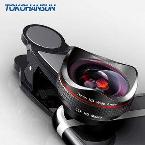 Image 1 - TOKOHANSUN Professionele 15x Macro Camera Mobiele Foto HD 0.6x Super Groothoek Telefoon Lens Voor Samsung S8 S9 iPhone 6S 7 8 Plus