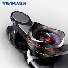 Tokohansun câmera para celular, profissional 15x macro foto hd 0.6x super grande angular lente de telefone para samsung s8 s9 iphone 6s 7 8 plus