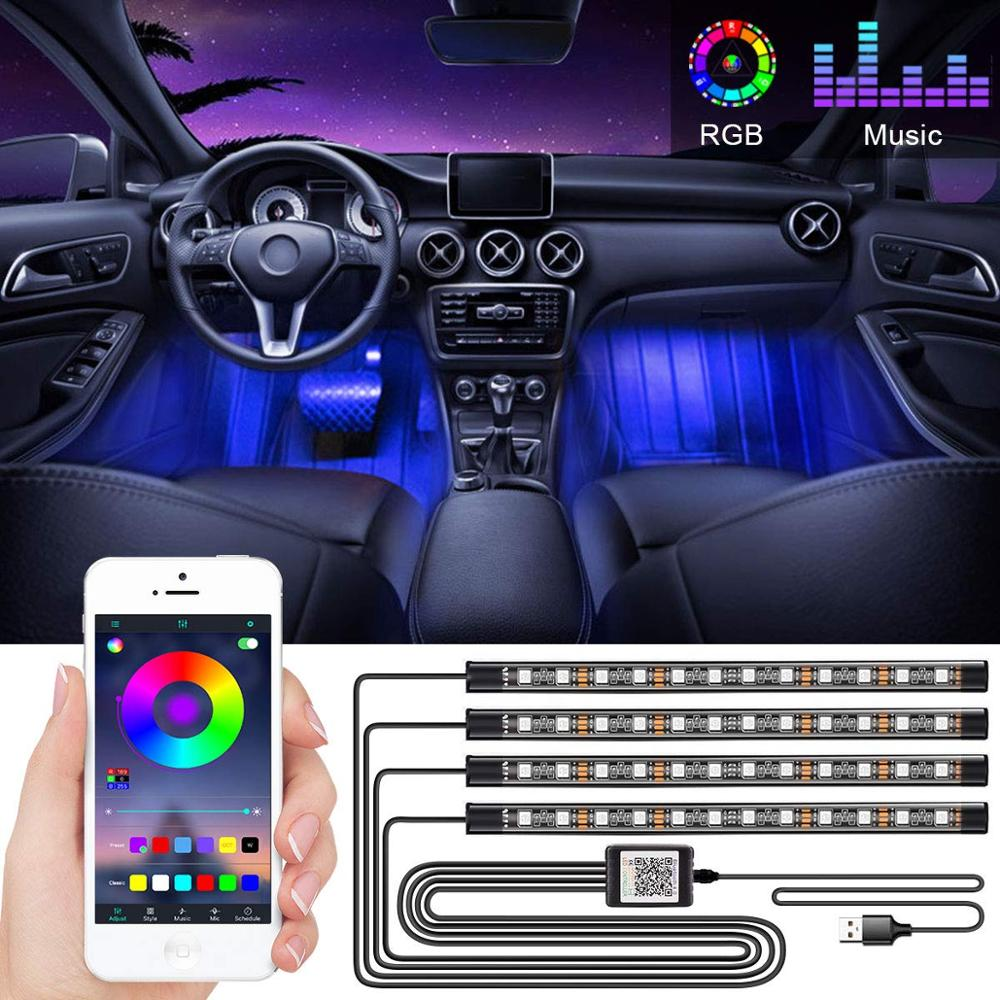 Decoración de coche luz Interior atmósfera luz RGB LED tira de luz con USB Control remoto inalámbrico música múltiples modos