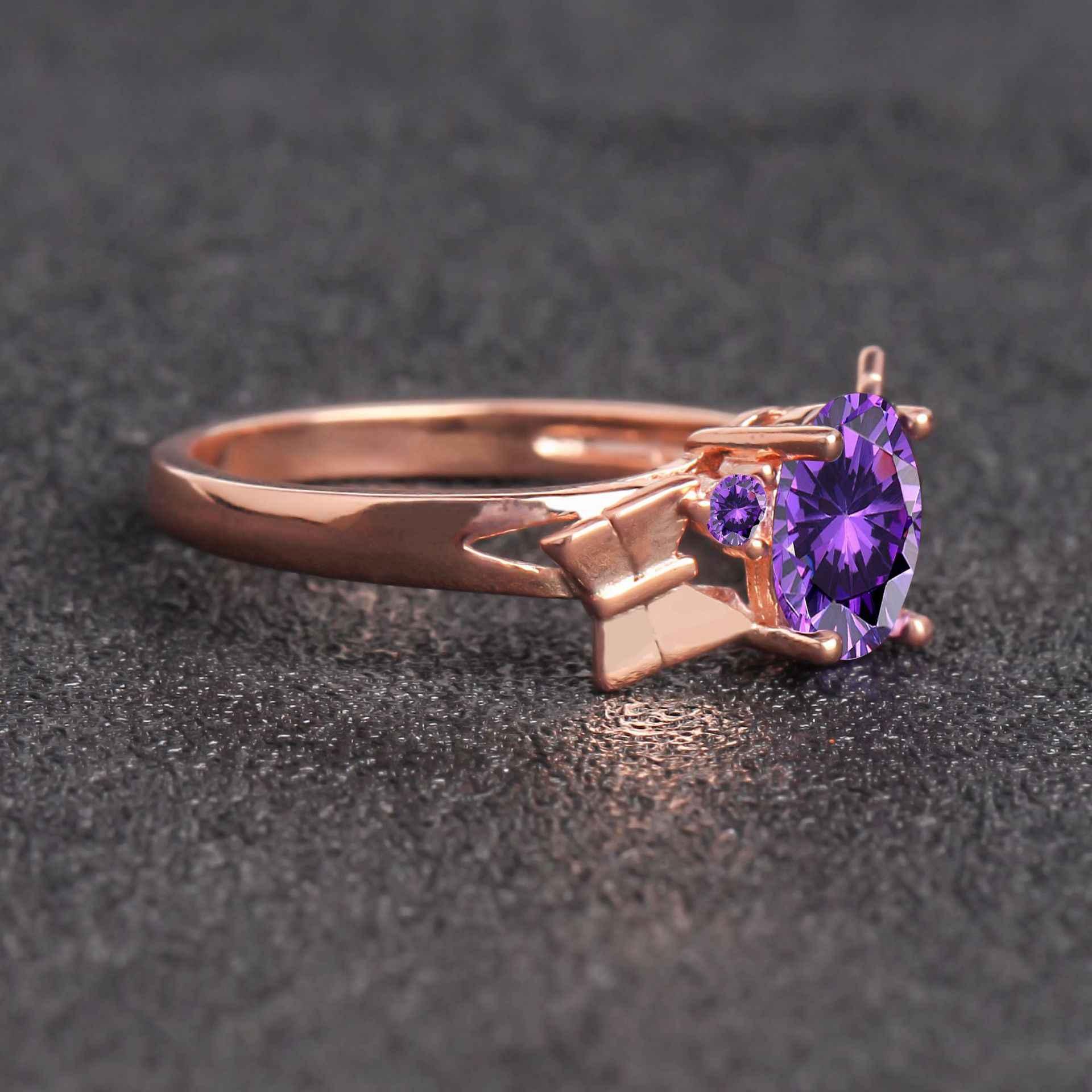 น้ำหยดแหวนไพลินแหวนแฟชั่น Rose 18K Gold Sea Sapphire งานแต่งงาน Amethyst แหวนหยกหญิงสวย