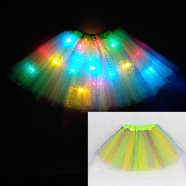 2020 new year Gradation Light LED Kids Coloured lights Tutu Skirt Princess Party Tutus Tulle  Child Ballet Dance skirt Rainbow 4