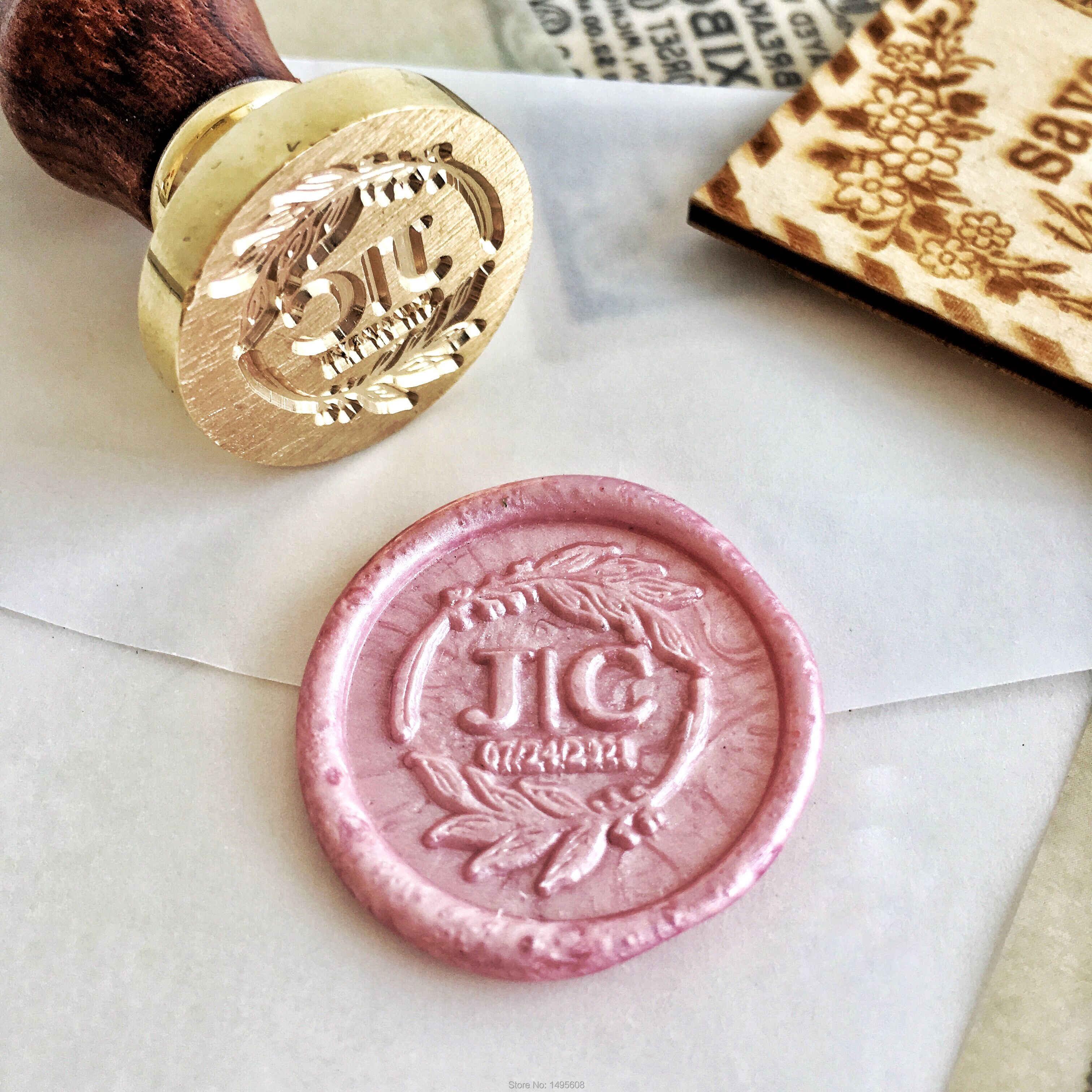 ختم اسم شخصي خاص تخصيص اثنين من الأحرف الأولى شعار تصميم ختم دعوة الزفاف تصميم الديكور الرجعية الشمع الختم Stamps Aliexpress