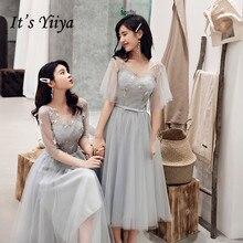 Bridesmaid Dress For Girls It's Yiiya R287 Elegant Stars Pattern Wedding Guest O-Neck Backless Tea Length Formal Gowns