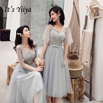 Vestido de dama de honor para chicas es Yiiya R287 elegante diseño de estrellas boda invitado vestido de cuello vestido de longitud del té Formal vestidos