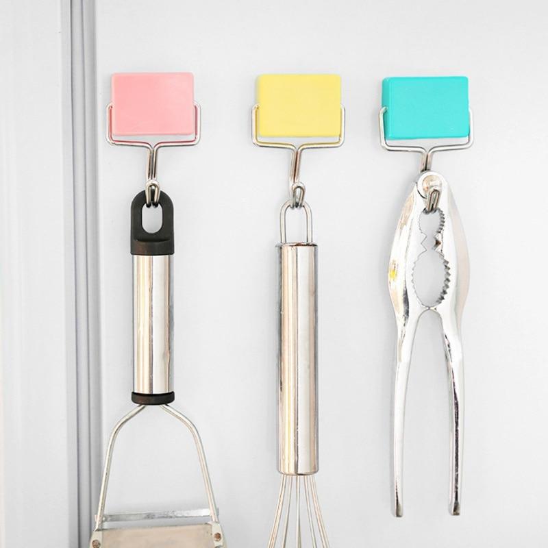 Super Strong Iron Magnetic Seamless Hook Kitchen Refrigerator Powerful Magnet Hook Home Garden Home Storage Organization