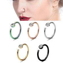Faux Septum, petits cristaux fins de strass, Piercing, anneaux de nez et clous, Faux Clip, lèvres, cerceau, bijoux pour le corps, 1 pièce