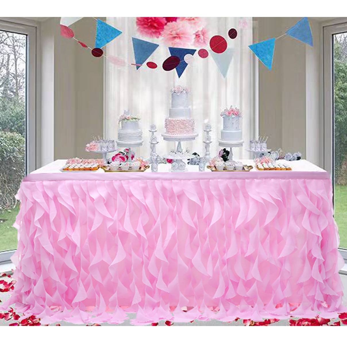 Tulle Table Skirt Colorful Tablecloth Wedding Banquet Birthday Party Wave Table Cover Decoration Christmas Decor