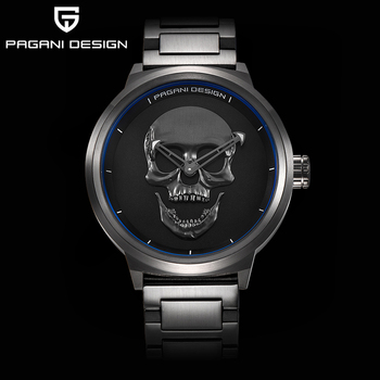 PAGANI DESIGN Punk 3D Skull Personality large dial  Fashion Men's Watch Waterproof 30m Stainless Quartz Watch  Relogio Masculino