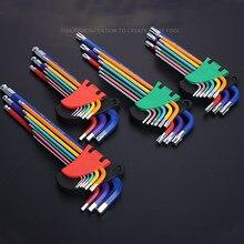 #9 pces chave de fenda hex allen chave conjunto cor codificação desgastar-oposição anti-corrosão allen chave conjuntos hexágono torx estrela chave