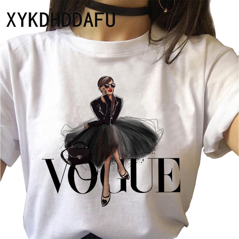 Vogue T Shirt Women 90s Tumblr Print Fashion Tshirt Ulzzang Aesthetic O-Neck Harajuku T-shirt Top Tees Female Casual Clothing
