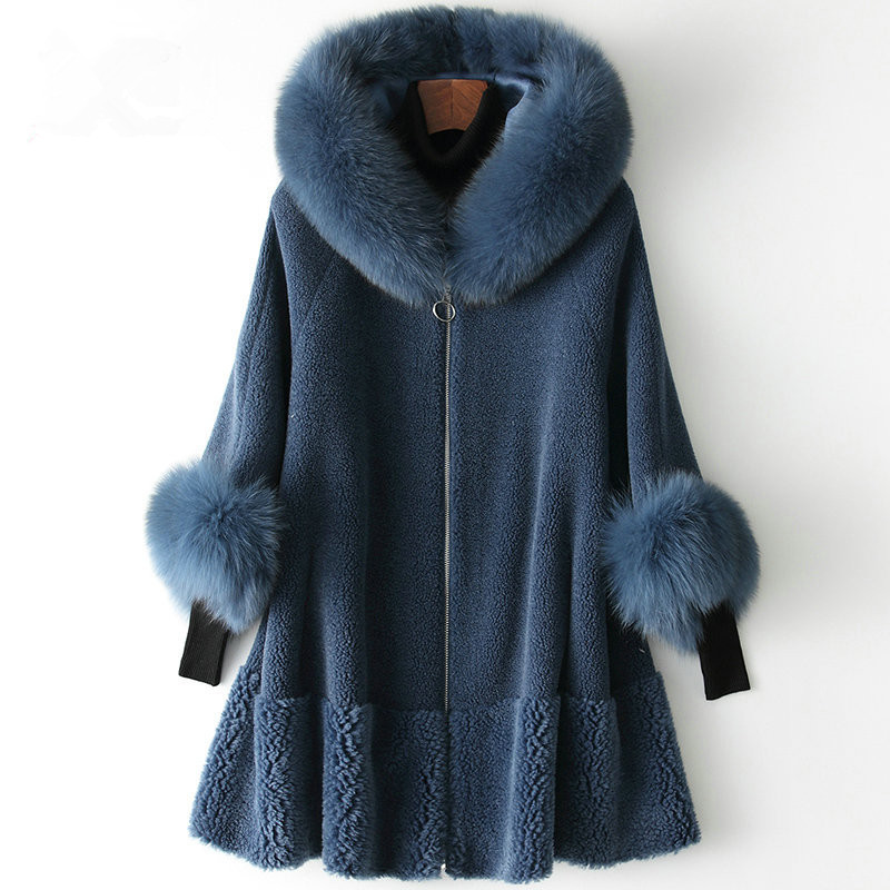 Fur Real Coat Female Sheep Shearling Fur Korean Jackets 2020 Winter Jacket Women Fox Fur Collar Long Wool Coats MY3535 S