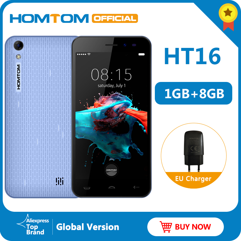 """Original version HOMTOM HT16 Android 6.0 Smartphone Quad Core MTK6580 5.0 """" Full Screen Mobile Phone Smart Gestures Cell Phone"""