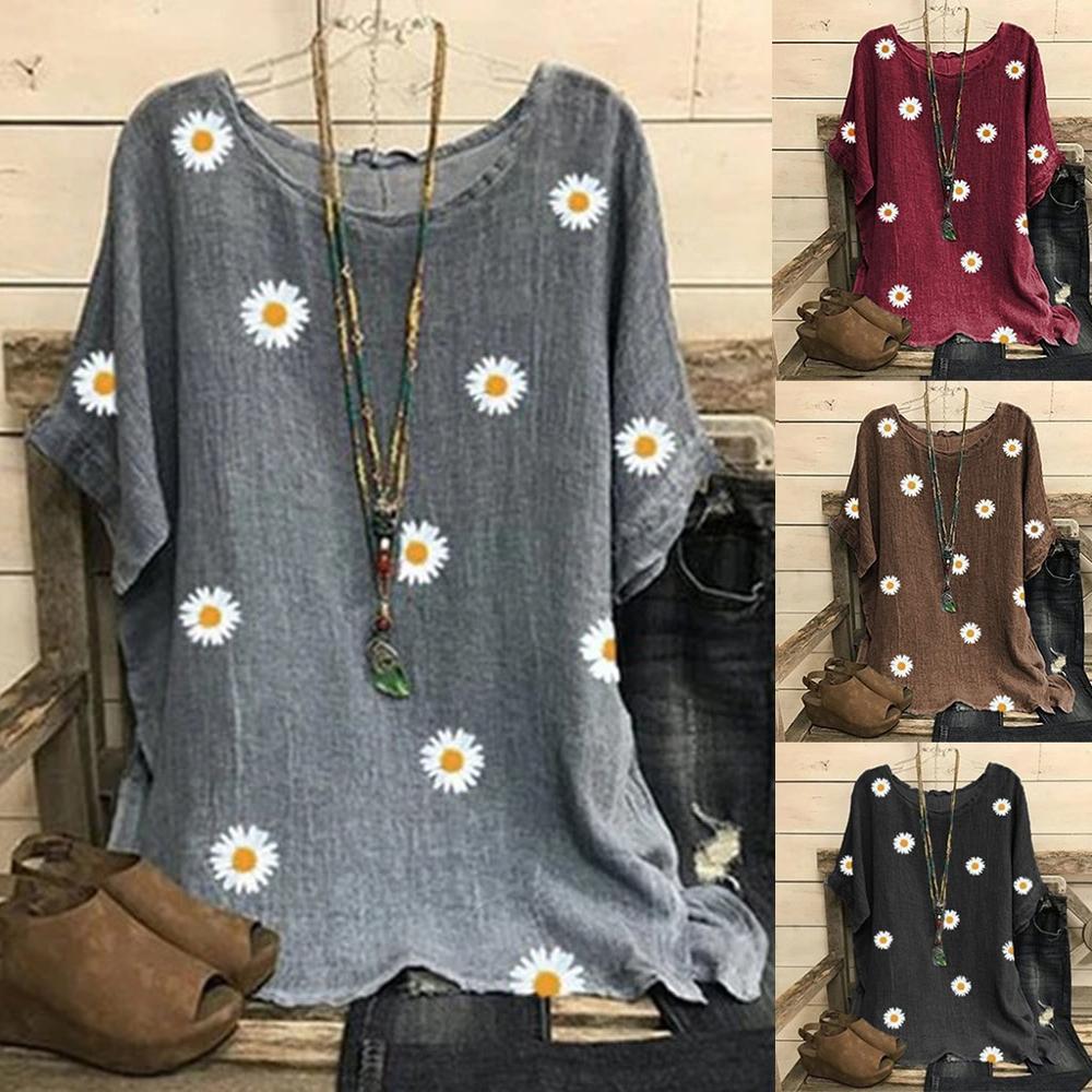 Summer women's chrysanthemum shirt Tunic Blouse Female Blusas Retro Plaid Shirts Camisa Femnininas Baggy Casual Vintage Blusa(China)