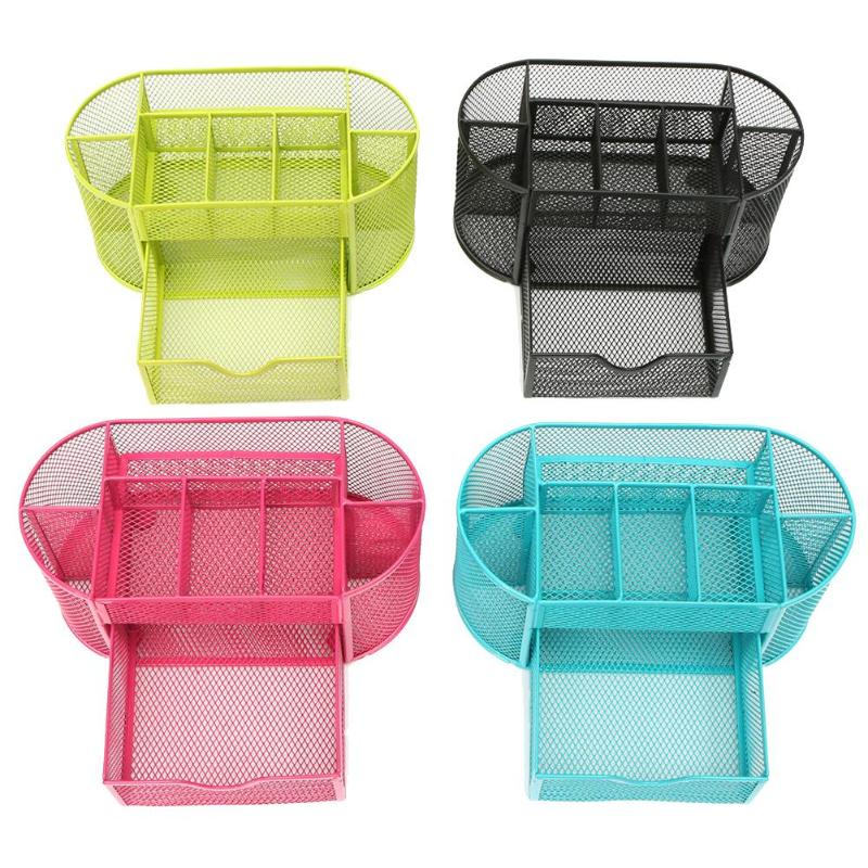 9 Grids Metal Desk Organizer Mesh Desktop Pencil Pen Brush Badge Holder Storage Box Stationery Ruler School Office Supplies
