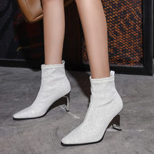 Women's Fashion Casual Crystal Socks Boots Stretch Fabric Pointed Toe Short sexy Ladies Ankle Boots High Heels Shoes botas mujer(China)