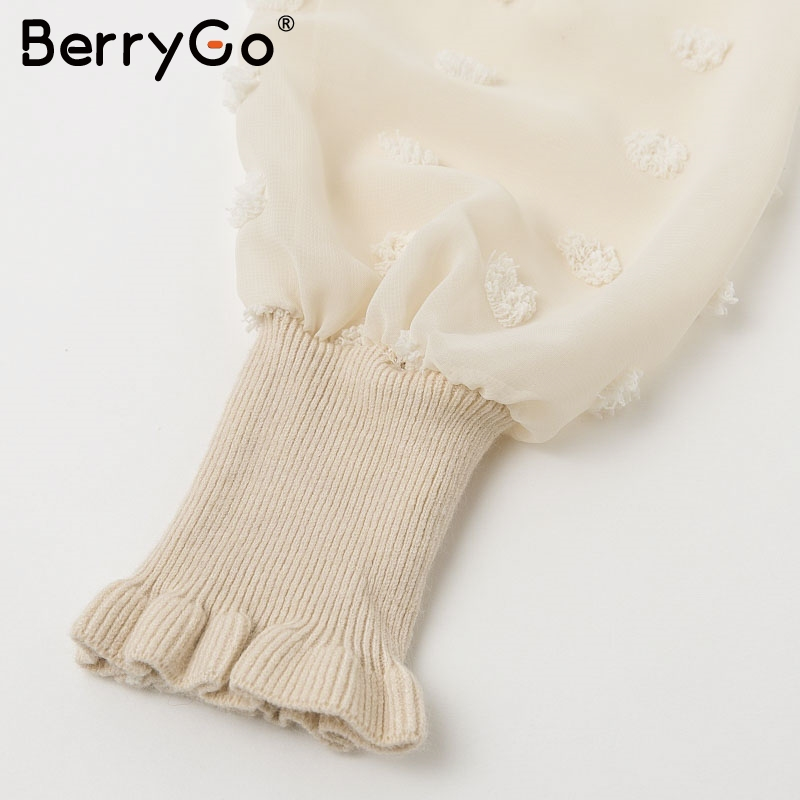 BerryGo Ruffle long sleeve knitted dress women V neck sashes female pleated dresses High waist luxury autumn winter office dress 12